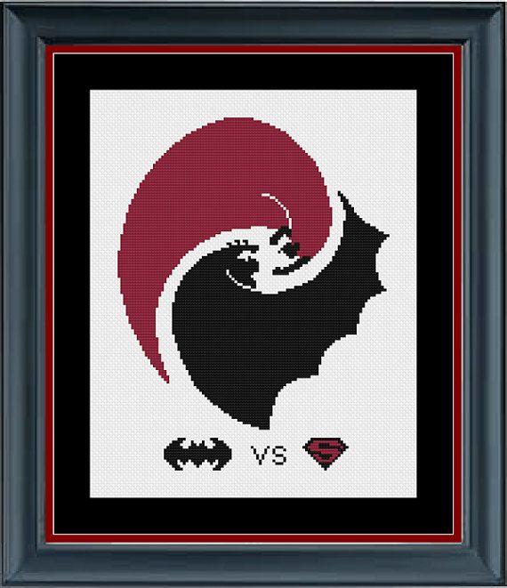 Batman vs Superman  Superhero Cross Stitch by StunningCrossStitch