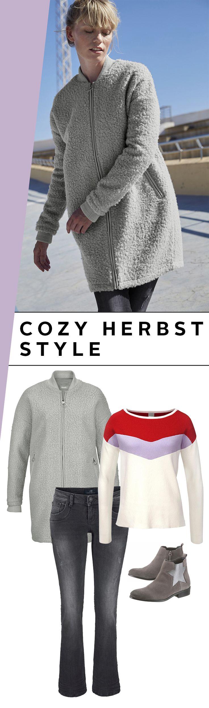 Mit diesem wunderschönen und unfassbar gemütlichen Outfit darf ein Herbstspaziergang gerne den ganzen Tag dauern. Hero ist der Kurzmantel von Bench in der Teddyplüsch-Optik und den coolen Bomberjackendetails. Drunter trägst du den Rundhalspullover im Retrolook und eine Jeans mit Schlag.