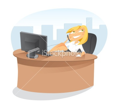 Office secretary talking to the telephone at desk Royalty Free Stock Vector Art Illustration