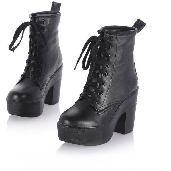 New Women's Platform Block Heels Ankle Martin Boots Lace Up Goth Punk... ❤ liked on Polyvore