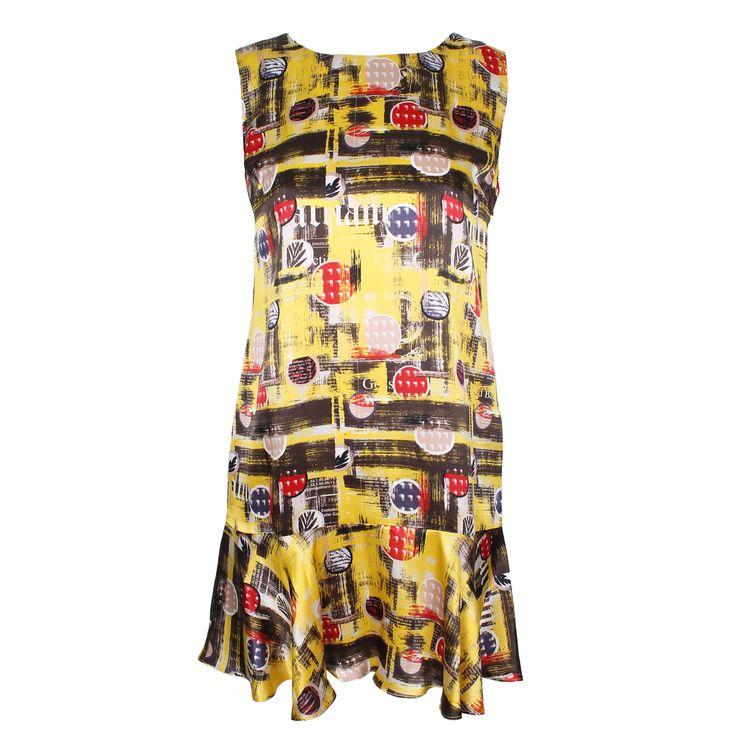 #galliano #johngalliano #marinamall #greenbird #couture #abudhabi #abudhabistyle #abudhabifashion #abudhabistyle #dubai #dubaifashion #dubaistyle #womenswear #fall2013 #winter2014 #fw2014 #prefall #dress #shortdress #casualwear #womenswear #sleeveless #printeddress #mixedprint #yellowdress