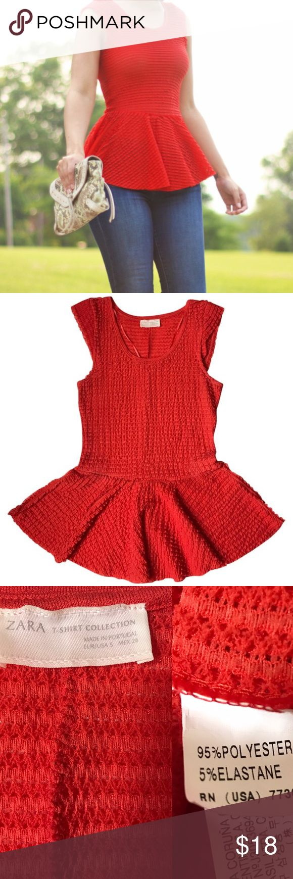 {Zara} Red Peplum Top Zara Red Peplum  Size S Good condition (no stains or major defects) Zara Tops