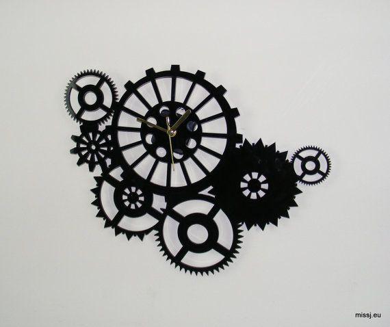 Laser cut acrylic wall mounted steam punk cogs clock mid century modernist contemporary clock