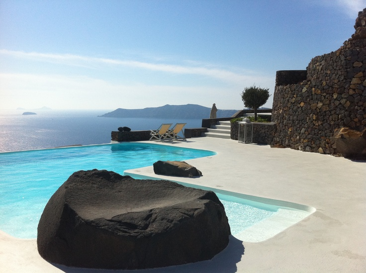 The view from the infinity pool of Aenaon Villas