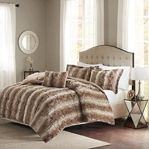 Tan Brown Faux Fur Comforter King Set White Color Adult Bedding Master Bedroom Modern Stylish Lux Microfur Pattern Elegant Wild Animal Themed