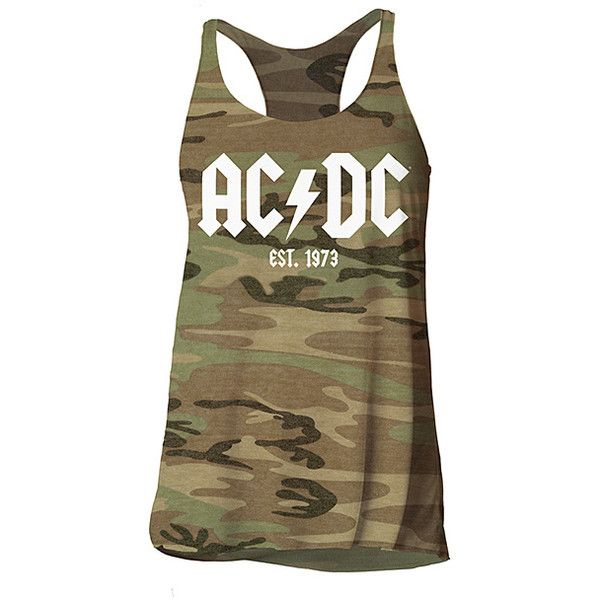 Impact Merchandising Camo AC/DC Tank ($22) ❤ liked on Polyvore featuring tops, camo tank, brown tank top, camouflage tank, camo tank tops and camo top
