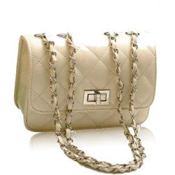 $8.58 Elegant Women's Shoulder Bag With Solid Color Checked and Chains Design