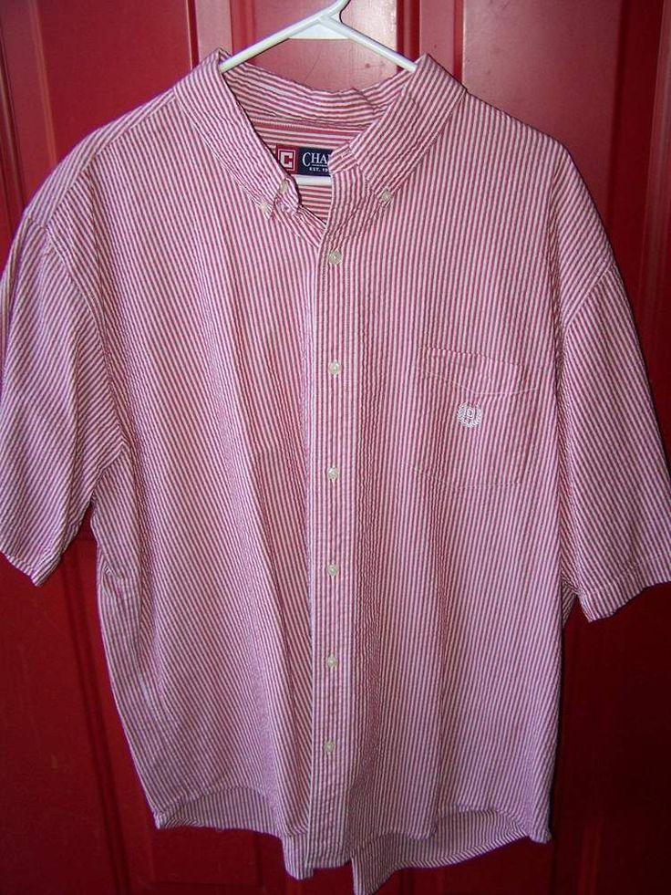 Men XXL Chaps Red White Stripe Seersucker Short Sleeve Button Down Shirt SZ 2XX #Chaps #ButtonFront