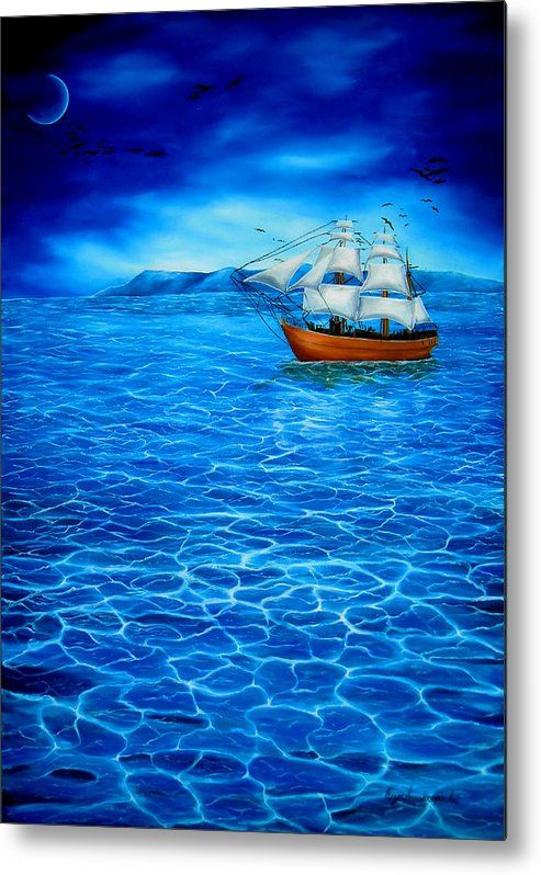 Metal Print,  ocean,seascape,sailboat,nautical,marine,sea,water,wooden,night,dark,moonlight,calm,blue,beautiful,image,fine,oil,painting,contemporary,scenic,modern,virtual,deviant,wall,art,awesome,cool,artistic,artwork,for,sale,home,office,decor,decoration,decorative,items,ideas