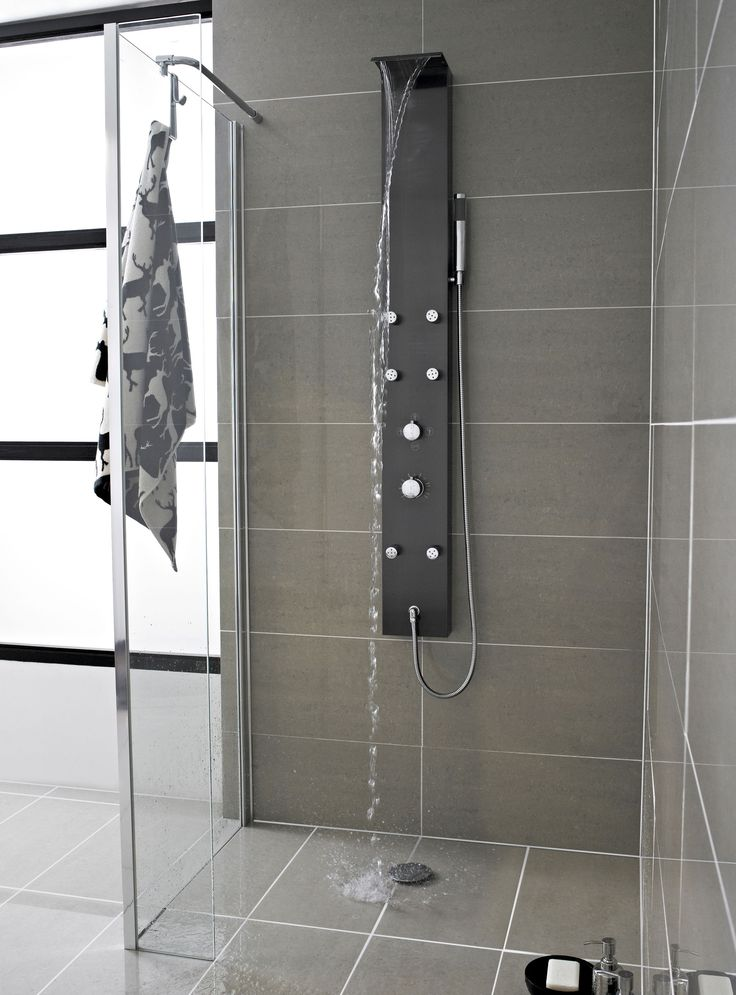 Mix Waterfall Shower Panel With 6 Body Jets   Modern   Showers   Manchester  UK   Hudson Reed