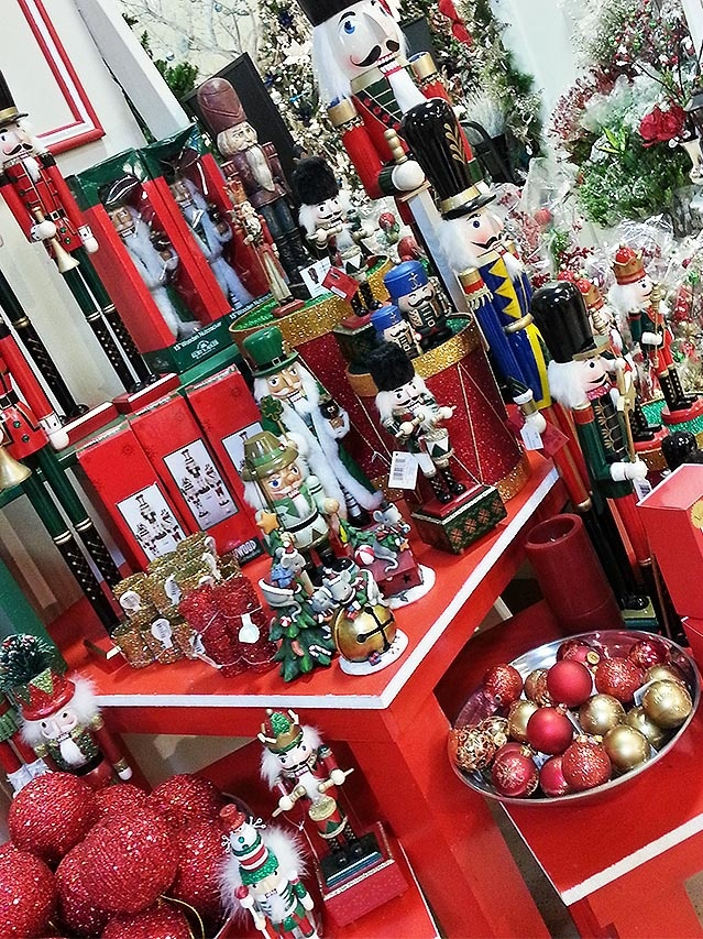 A beautiful display of unique and authentic Nutcrackers at Treetime's Christmas showroom. http://www.treetime.com/Treetime-Christmas-Trees-Showroom-Gallery/