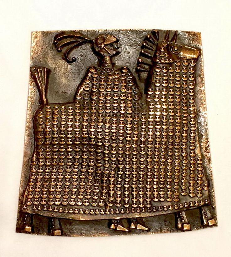 Kopcsányi Ottó bronz, jkf., 32,5 x 31,5 cm Páncélos lovag 16/84