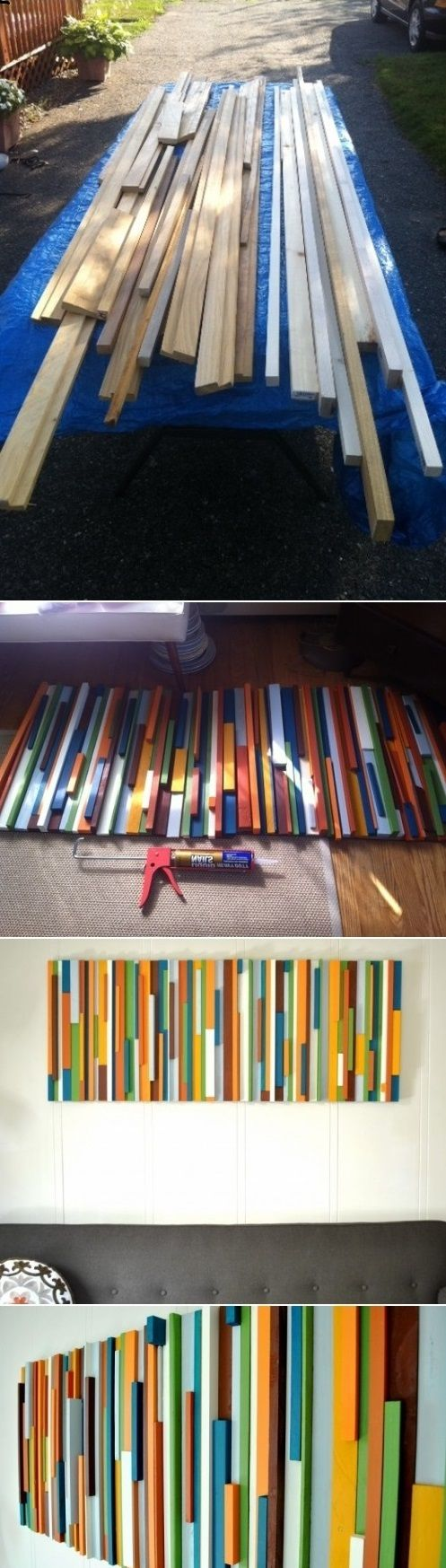 DIY modern painted wood wall art
