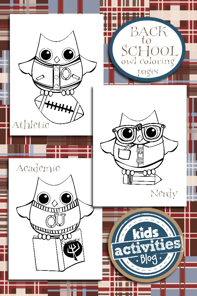 Back to school coloring pages owl themed for Coloring pages back to school theme