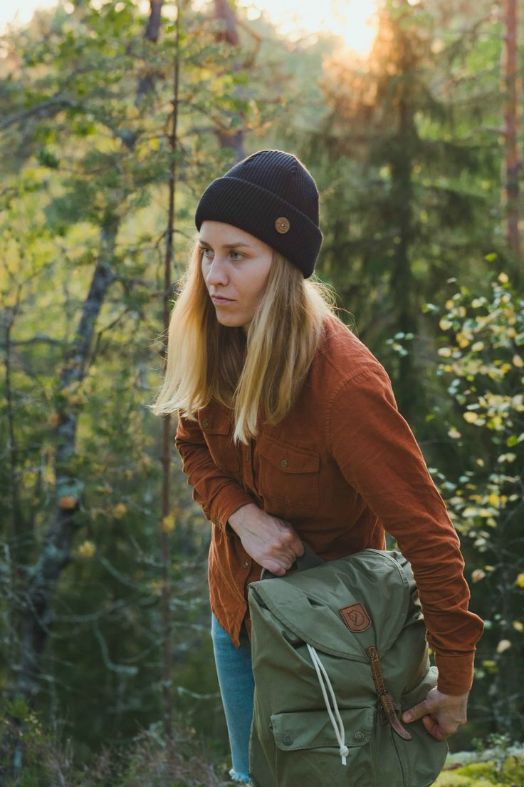 Hipster Hiking Outfit. Sustainable Clothing. Wool Beanie cozy style for Summer.