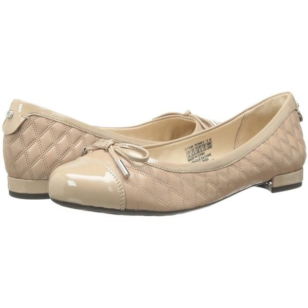 Rockport Atarah Cap Toe Ballet (Warm Taupe) Women's Shoes ($78) ❤ liked on Polyvore featuring shoes, flats, beige, ballet shoes flats, quilted ballet flats, ballet shoes, ballerina shoes and ballerina pumps