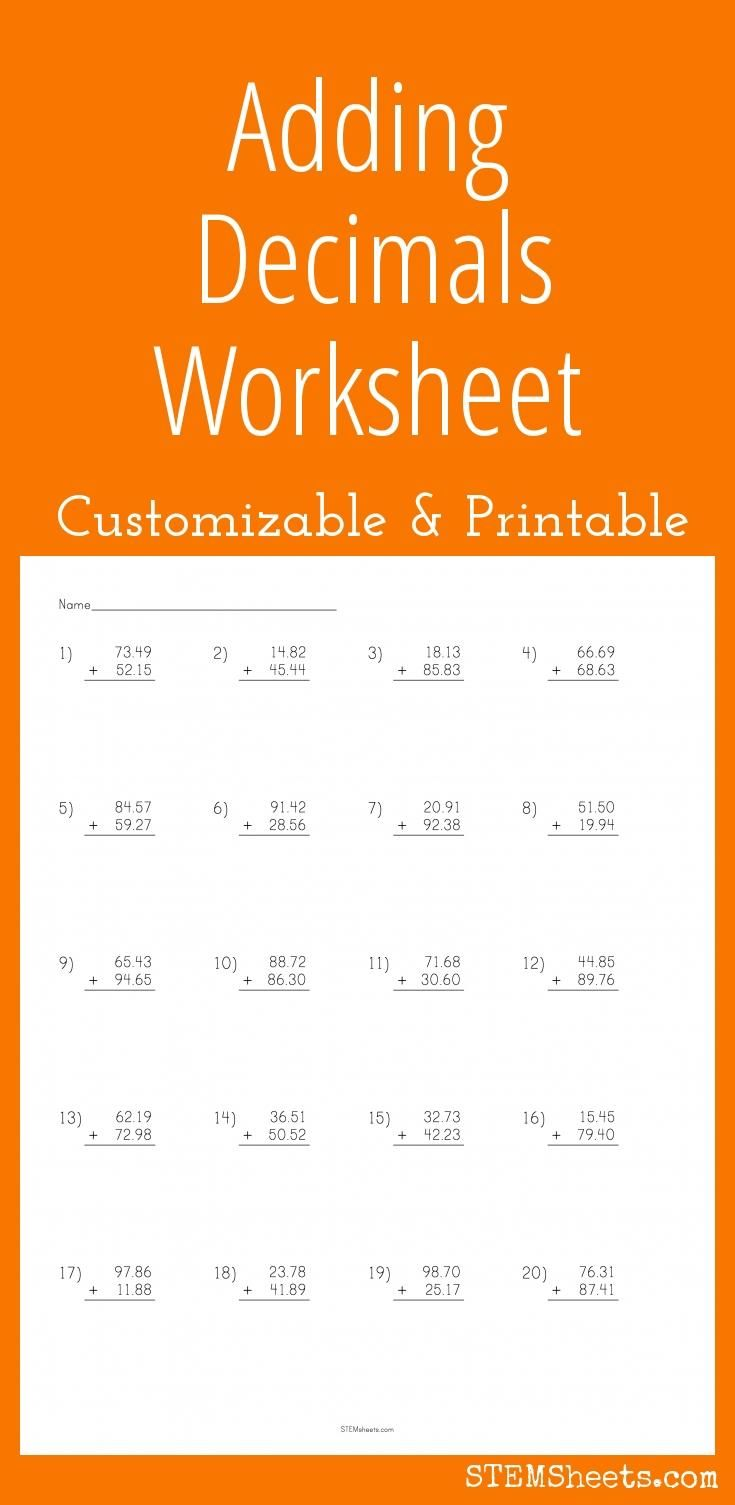 adding decimals worksheet customizable and printable math stem resources decimals. Black Bedroom Furniture Sets. Home Design Ideas