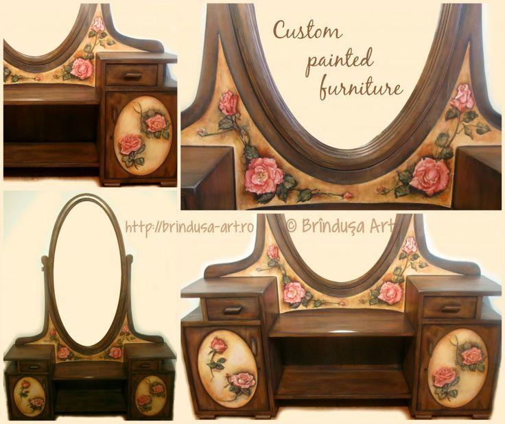 Brîndușa Art Custom painted toilet table (vanity), vintage aspect - reconditioned and painted. Roses, 'a more colorful kind of shabby chic', as someone described my painting style. Painted furniture, acrylics on wood. Măsuţă de toaletă recondiţionată şi pictată, aspect vintage. Trandafiri. Mobilă pictată, culori acrilice pe lemn. #paintedfurniture #vintage #roses