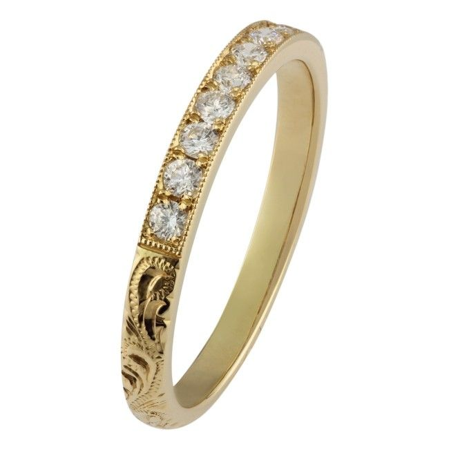 18ct Yellow Gold Hand Engraved Band With Nine Diamonds Engraved Wedding Rings Eternity Ring Wedding Rings Vintage