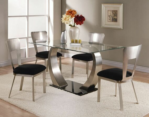5 Pc Camille Rectangular Metal And Glass Dining Table With Beveled Edge Frame Chairs