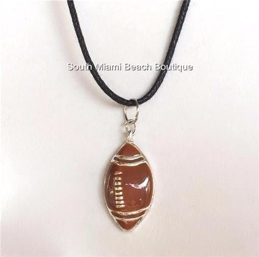 Silver Plated Football Necklace Brown Enamel Bead Sports Team Mom USA Seller #SouthMiamiBeachBoutique #Pendant