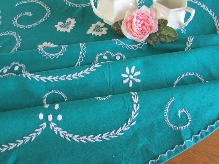 Exceptional Round Embroidered Teal Tablecloth - Hand Embroidered - White Embroidery - Garden Party by MomsGiftShoppe on Etsy