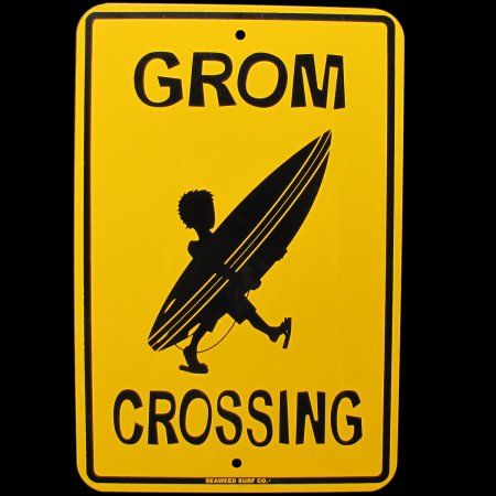 Metal GROM CROSSING Xing Sign Surfer Boy Kid&Surfboard Home Wall/Door Surf Decor - Walmart.com
