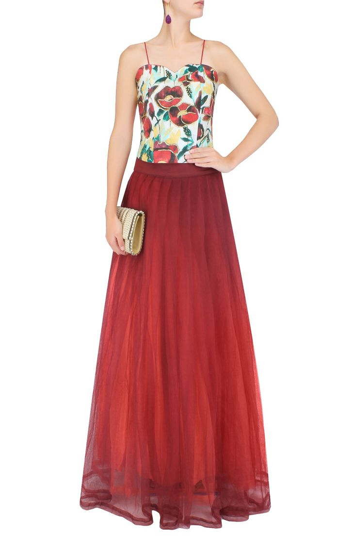 Off white and ox blood red floral printed corset with skirt PRINTS BY RADHIKA…
