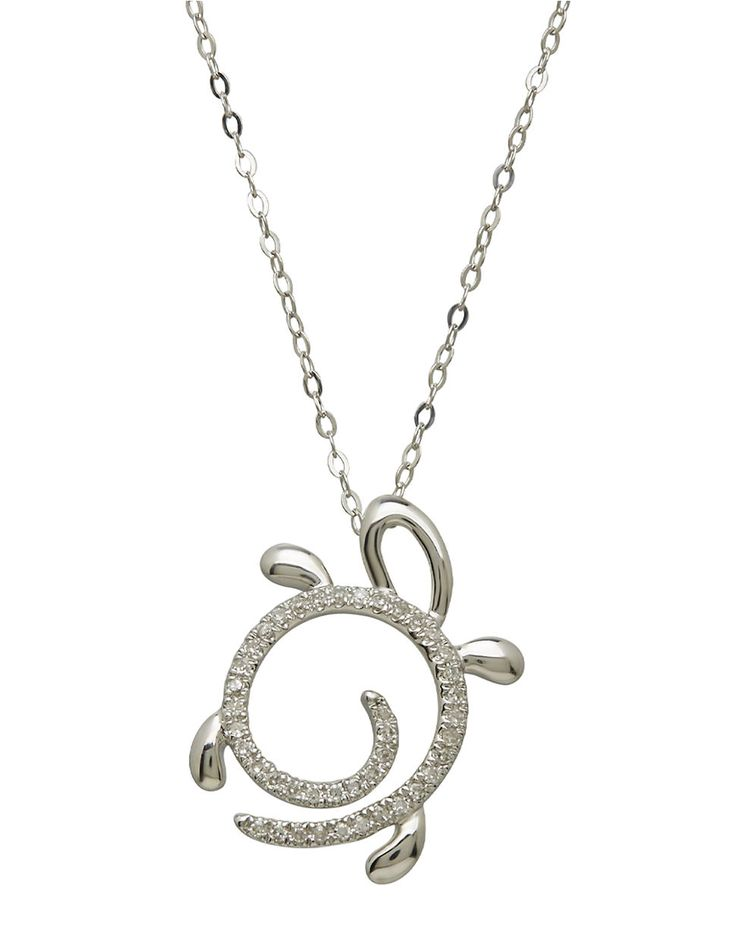 14Kt. White Gold and Diamond Turtle Pendant Necklace | Lord and Taylor