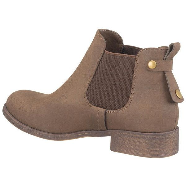 hattie bootie with gore in brown (3.485 RUB) ❤ liked on Polyvore featuring shoes, boots, ankle booties, brown booties, wide ankle boots, wide booties, brown ankle boots and ankle bootie boots