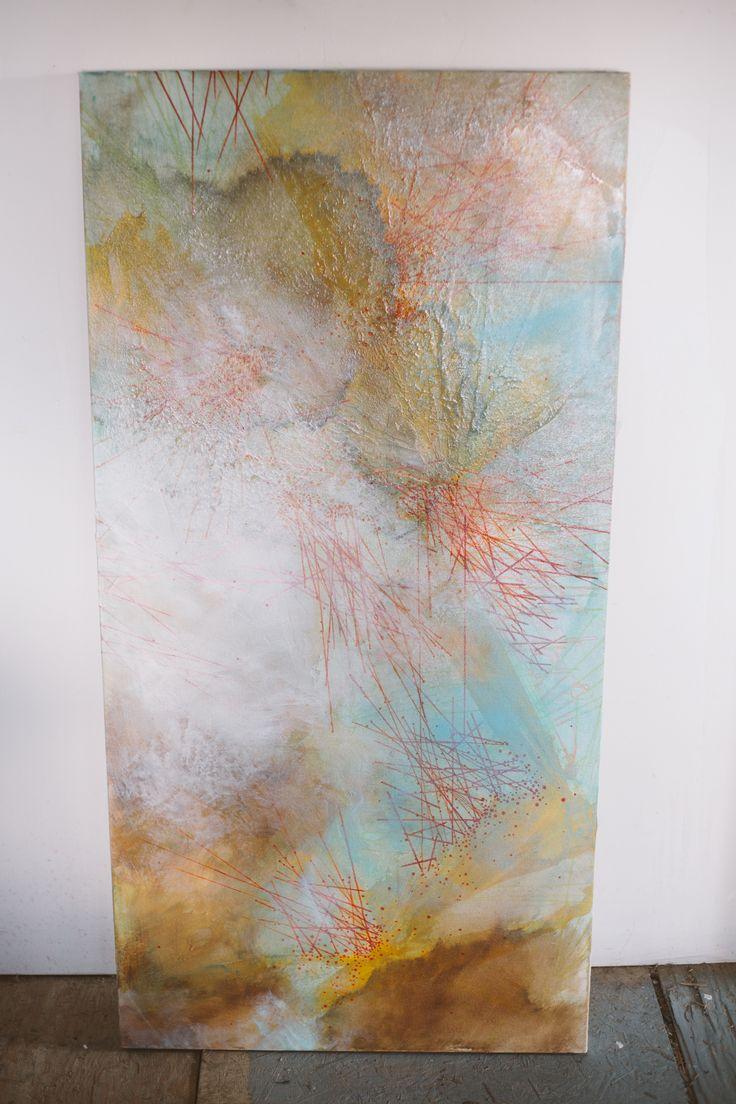 """'Melt'  24""""x48"""" Ink & Acrylic on canvas  $750  info@deserepressey.com"""