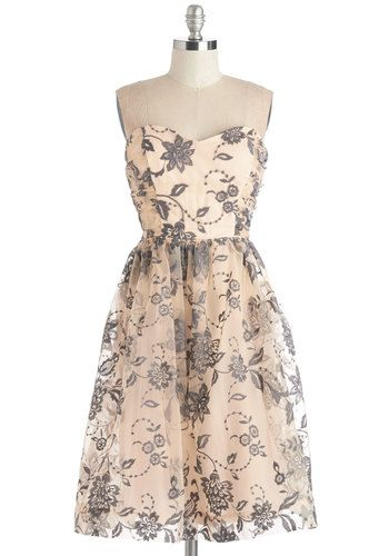 Grace Notes Dress. As you slow dance across the ballroom in this feminine dress, the quartets flourishing melodies seem to be played just for you. #gold #prom #modcloth