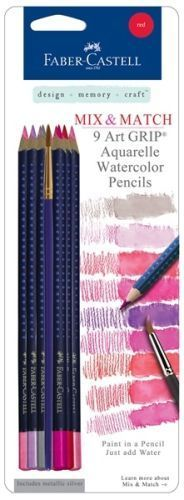 Faber Castell 9 Art Grip Watercolor Pencils Red