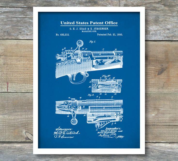 Patent Poster, Repeating Rifle, Bolt Action Print, Krag and Jorgensen, Gun Decor, Gun Enthusiast, P438 by NeueStudioArtPrints on Etsy