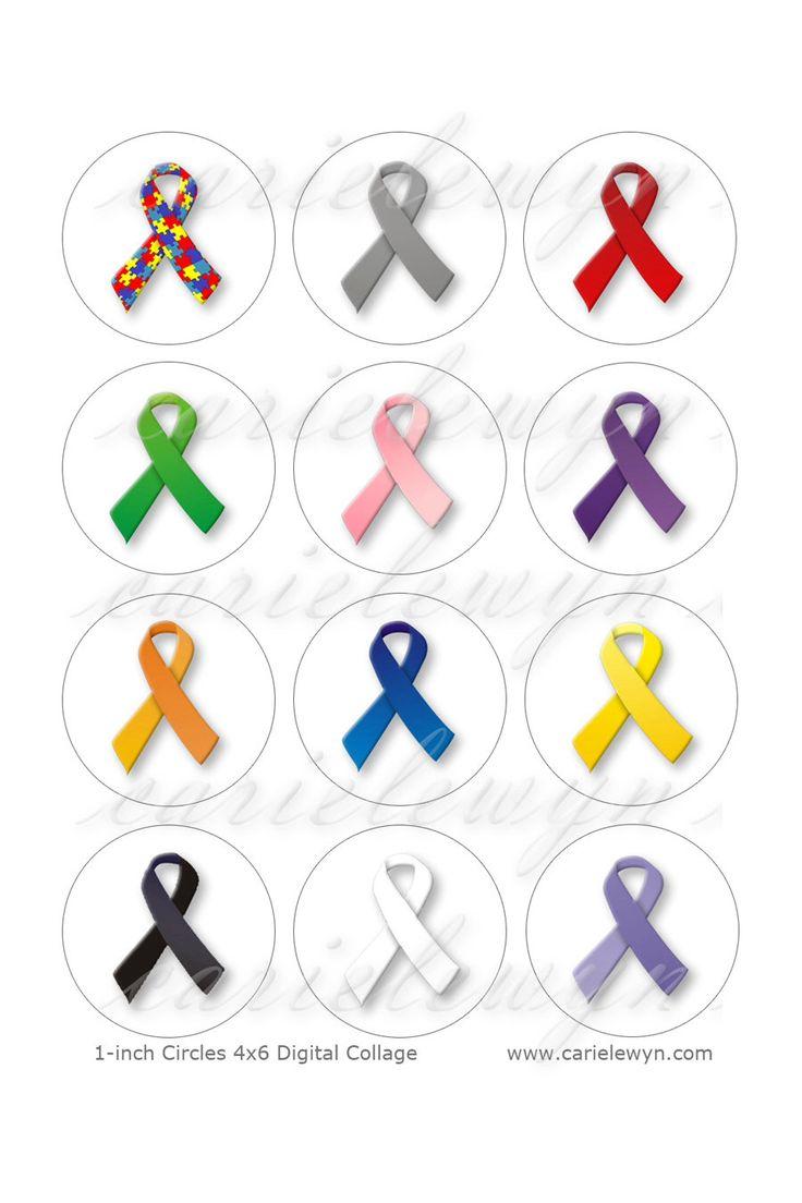Images de sensibilisation ruban Bottlecap / autisme, le Cancer, sida, rubans pour la Cause / imprimable Collage / 1po cercles par carielewyn sur Etsy https://www.etsy.com/be-fr/listing/114340924/images-de-sensibilisation-ruban