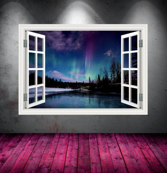 Mountain Window Frame Full Colour wall art sticker decal transfer mural Graphic
