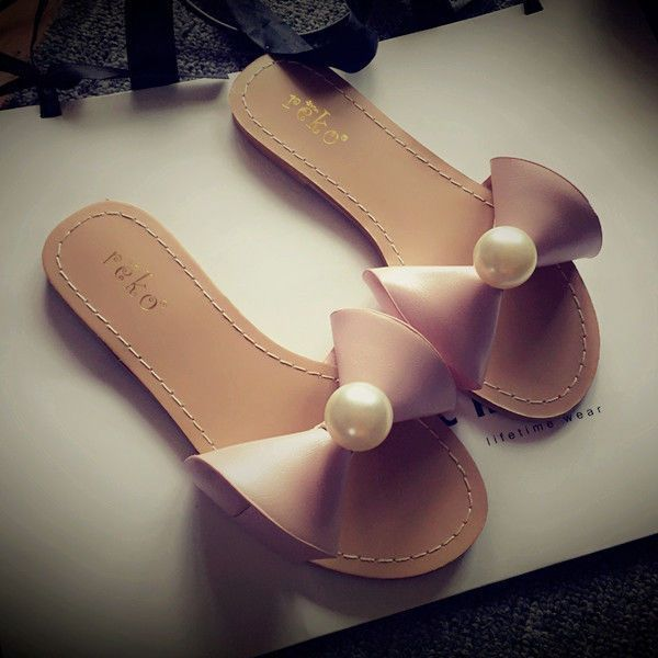 Leisure Women'S Mules Casual Slippers Sweet Bowknot Beads Flat Slip On Shoes