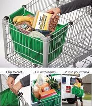 Reusable Folding Shopping cart trolley Grocery Bag Clip To Cart Tote Grab Bag
