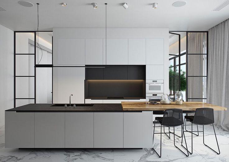 Cucina bianca e nera dal design moderno 02   Cucine   Pinterest ...