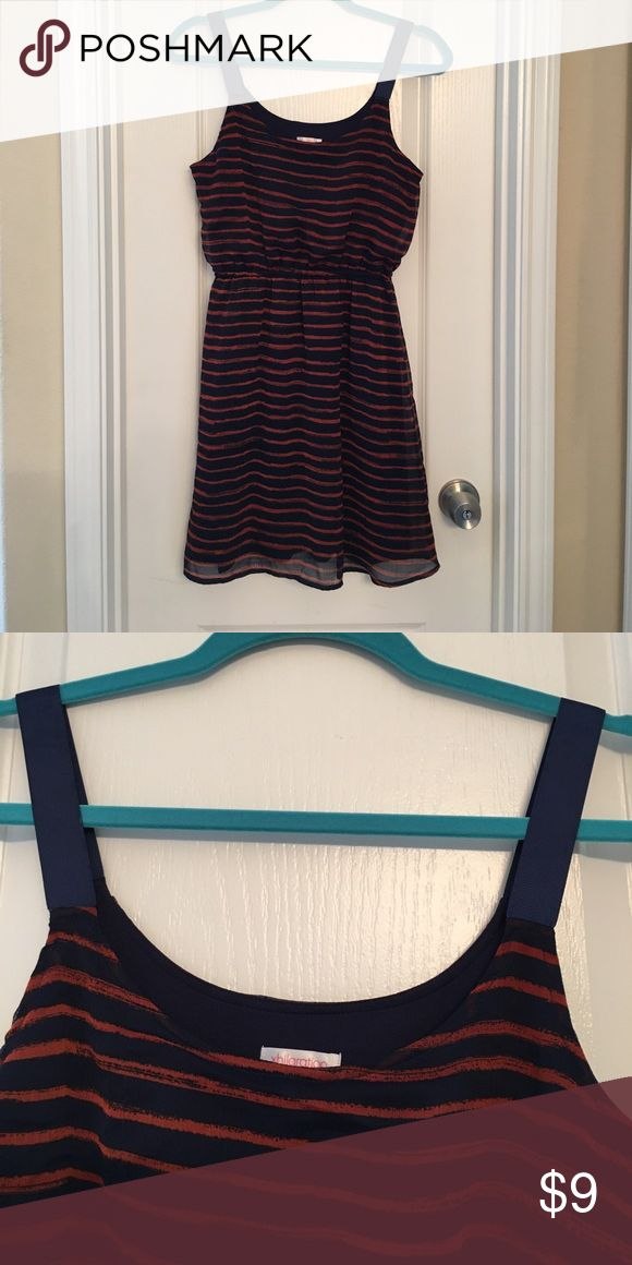 """Adorable junior summer dress!😎 This 100% striped dress is fully lined & has ribbon straps. 17"""" across bust, 34"""" length, 12.5"""" waist before stretch. Navy & burnt orange colors. Unique & super cute!🌸🌼🌺 Xhilaration Dresses Midi"""