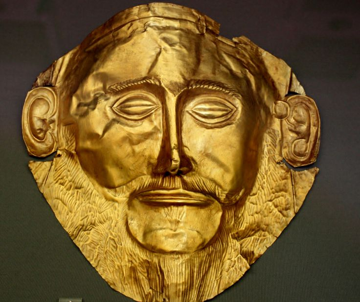"""""""Agamamnon's Mask"""" of Mycenae, 1550 – 1500 BC, Greece. National Archaeological Museum of Athens"""