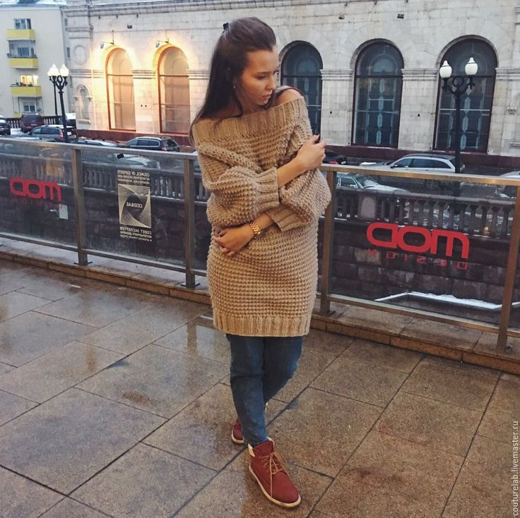 Купить Вязаное свитер - платье ручной работы - коричневый, однотонный, платье, платье вязаное