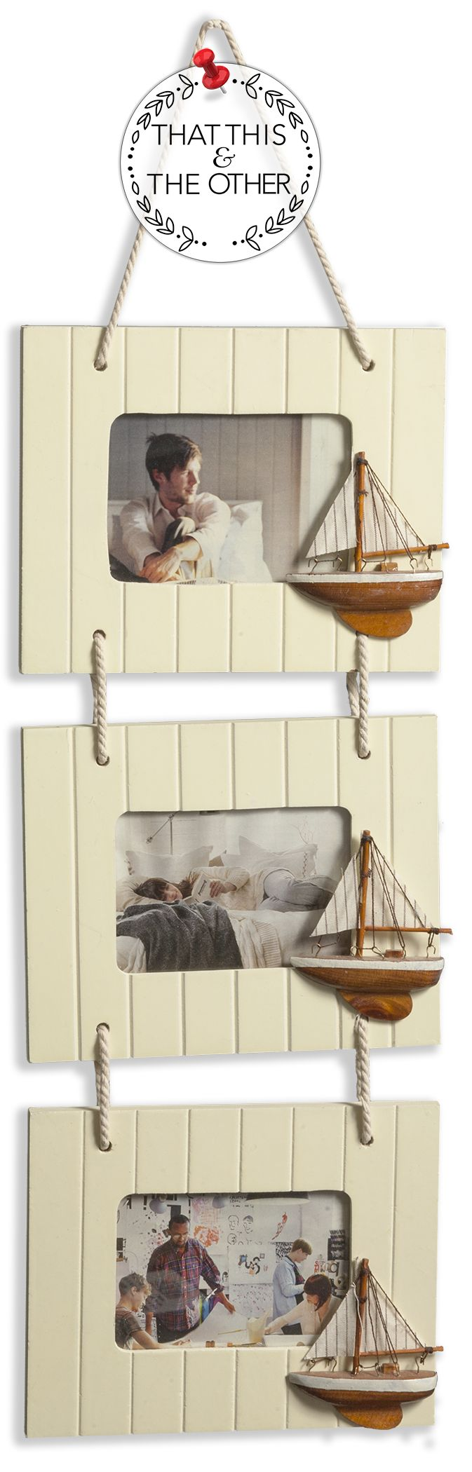 three nautical picture frames roped together let your memories sail away in this skillfully created set - Nautical Frames