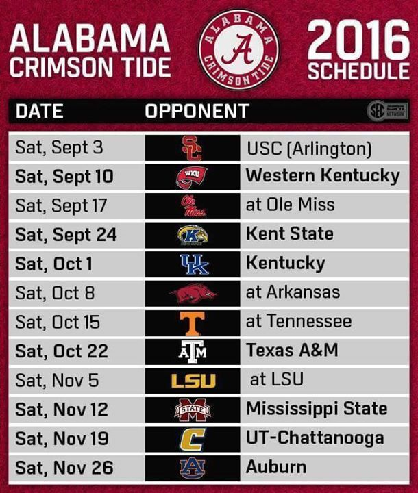 Alabama Crimson Tide 2016 Schedule