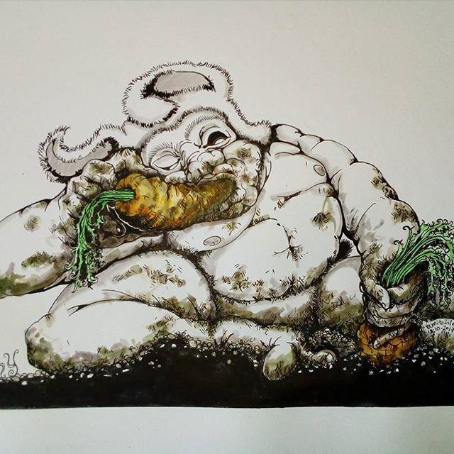 Inktober day 18 -Filthy- #inktober #inktober2017 #inktoberday18 #inktoberprompts #ink #penandink #brushandink #brushpen #copic #bmitchleyart #koibrushpen #filthy #character #comic #southafricanartist #southafrican #southafrica #artist #artistoninstagram #art #illustration #dailysketch #bunny #hungry #male