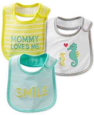 Carter's Baby Girls' 3-Pack Teething Bibs