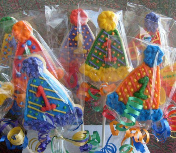 Birthday Hat Cookie Pops  Birthday Hat Cookies  1st by lorisplace, $41.99