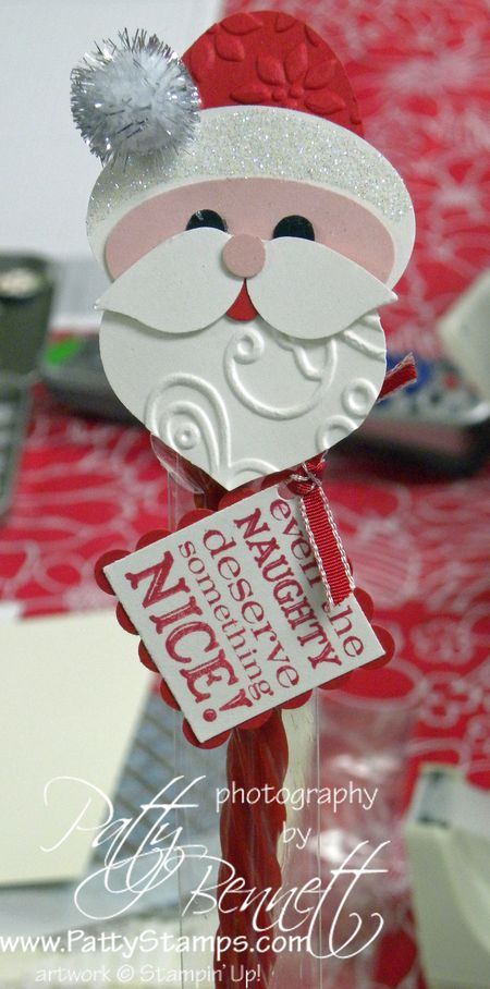 "Santa 1x8 cello bag topper.  Punches:  ornament, XL Oval, large oval, bird, 1"" square, scallop square, circle/Crop a dile ~ Stampin UP"