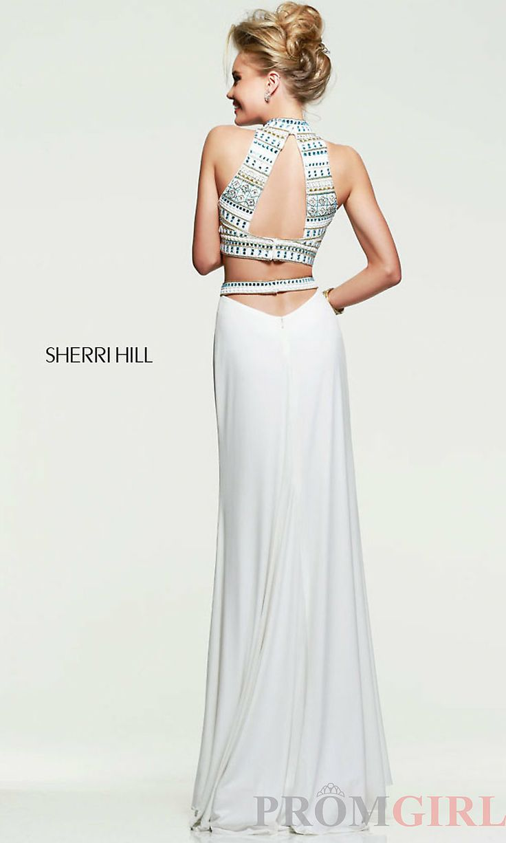 Sherri Hill Beaded Two Piece Prom Dress, Crop Top Gowns- PromGirl