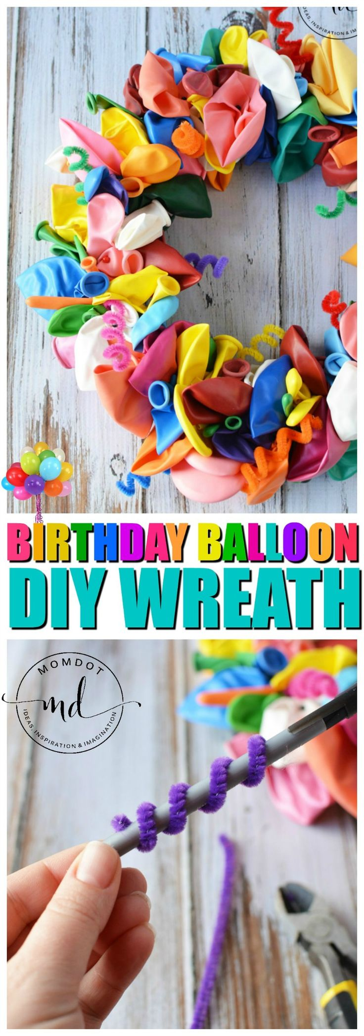 DIY Wreath, How to make a Balloon Wreath perfect to announce a birthday with a variety of ballooon sizes and pipe cleaner curls, So cute! Plus other wreath tutorials step by step
